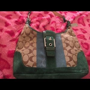 Coach Mini Hobo with green and blue suede